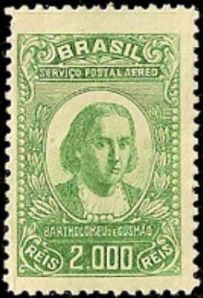 """Timbre commémoratif du Brésil,représentant Gusmâo,celui qu'on surnommait """"Padro Voador"""",le Père Volant."""