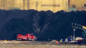 Voici le tas de sable bitumineux...coupable de notre empoisonnement.