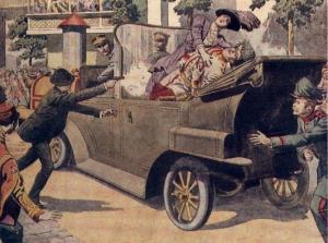 L'assassinat de l'archiduc François Ferdinand ,d'Autriche-Hongrie et de sa femme ,par  Gravilo Pricip,le 28 juin 1914 à Sarajevo.Ce double meurtre commandée par la Main Noire va précipiter le monde dans la Grande Guerre.