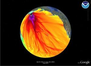 Visualisation de l'étendue des radiations dans l'océan Pacifique.