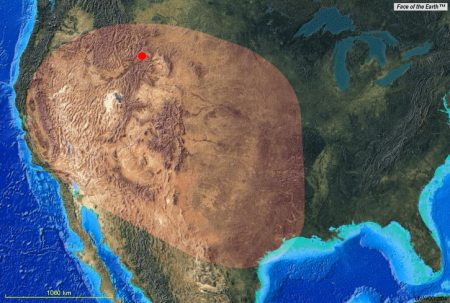 La surface recouverte par plusieurs mètres de cèdres lors des éruptions passées.