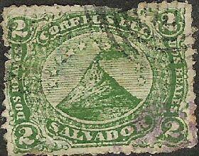 Timbre ancien représentant le fameux volcan.