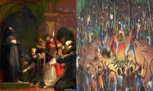 *Image de gauche: Pape Nicolas V, la semence de l'enfer et ses sbires. *Image de droite: cérémonie du Bwa Kaymun qui aura permis  aux ancêtres de Ayiti  (Haiti) de vaincre les barbares esclavagistes européens et regagner leurs liberté et dignité.