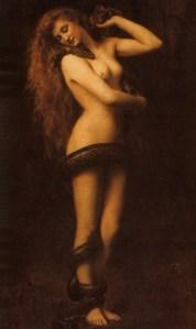 Lilith,peinture par John Collier.La présence de serpents est représentative du personnage.
