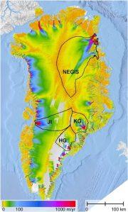 Carte de la fonte des glaciers au Groenland...Le système s'est emballé.