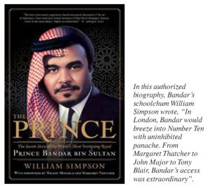 2006 biographie semi-autorisée du prince Bandar, le prince-Histoire secrète de la plus intrigante royale dans le monde , par son ami de longue date Colombie William Simpson , décrit les caractéristiques «uniques» de l'Al-Yamamah troc accord en langue incroyablement brutale.