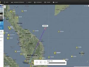 Dernier point connu du vol MH370.