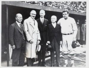 Shoriki que l'on voit à gauche de cette photo de 1934,aurait même pu  s'entretenir avec l'illustre Babe Ruth.
