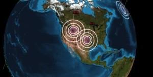 Graphique illustrant  les 2 importants  épicentres sismiques.