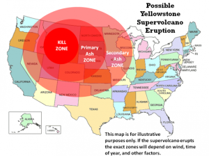 La zone de mort autour de Yellowstone./ The death zone ...around Yellowstone.