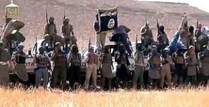 Des membres de la redoutable brigade Ousoud al-Anbar (les Lions de Anbar), affiliée à l'État islamique en Irak et au Levant, la branche d'el-Qaëda en Irak.