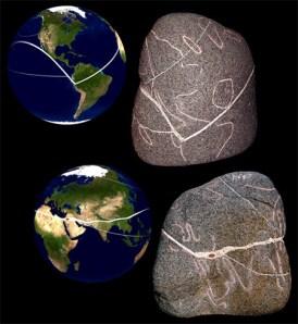 Le plus large des artéfacts trouvés à La Maná est une pierre ronde de granite composée de plusieurs symboles et lignes incrustées. Après observation on réalise que c'est une ancienne map monde ou la plupart des continents sont représentés. On peut même constater qu'à la gauche de ce qui représente l'Amérique du sud se trouve un morceau de Terre de la taille de Madagascar, et à la droite des Amériques se trouvent un plus gros morceau de Terre. Il y a trois parcours distincts, deux petits et un très visible. Sur le gros parcours au niveau d'Israël se trouve un œil rouge incrusté (l'œil se trouve exactement là ou est Jérusalem). C'est une énorme découverte il y a de quoi spéculer. On pourrait dire que le morceau de Terre dans l'Atlantique est l'archipel d'Atlantis, et celle dans le pacifique représente Mû. On pourrait voir ça comme un tour du monde, comme une autoroute qui connecte tout avec tout. Ou bien les grandes connexions du monde, les grands réseaux de trafic. Qui sait, mais de voir ces deux continents qui n'existent plus aujourd'hui indique que c'est une très ancienne mappemonde.