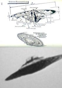 Dessin représentant l'appareil développé par les ingénieurs Schriever et Habermolt. En dessous ,une photo tirée des archives allemandes qui nous donne un aperçu de l'appareil.