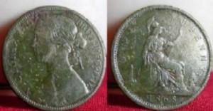 Une  pièce de 1/2 penny  de l'Angleterre  à l'effigie de la reine Victoria.Remarquez  la magnifique représentation de Britannia ,au verso.C'est le symbole du pays. Britannia est la personnification de l'Angleterre. On la représente à la manière de l'Athéna grecque ou encore de son équivalente latine Minerve.