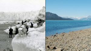 En 1882 des personnes sont sur le  Glacier Muir  en Alaska (à gauche), pour prendre des photos . Au même point  en 2005...on ne voit  que de l'eau
