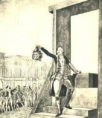 Philippe égalité montrant la tête du roi louis XVI guillotiné.