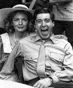 """Diane Keaton et Al Pacino durant le tournage du film  """"Le Parrain"""" ,en 1972."""