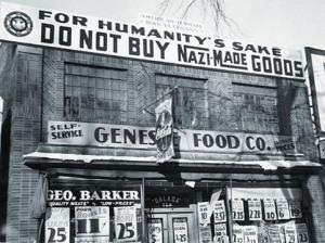 Suite à la déclaration de guerre sioniste,les commerçants juifs de New York boycottèrent les produits allemands.