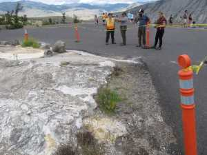 Rangers at Yellowstone National Park have temporarily closed Upper Terrace Drive near Mammoth Hot Springs to vehicles due to a new thermal feature that is affecting the road. (Yellowstone National Park photo)