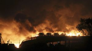 Le port de Tianjin au moment de l'explosion.