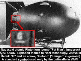 """La """"trace de la filière allemande"""" est bien visible sur la bombe nucléaire lâchée sur Nagasaki."""