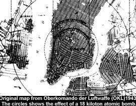 Carte originale retrouvée dans les archives secrètes nazies montrant les effets d'une bombe de 18 kilotonnes sur le secteur de Ruegen ...dès 1943!...2 ans avant Hiroshima!!!Alors que les américains étudiaient encore!