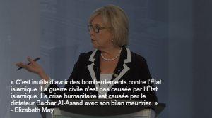 ...Élizabeth May du Parti vert du Canada que j'ai déjà représenté dans l'élection de 2011...ou bien elle est pro-sioniste ou elle ne connait rien à la politique au Moyen Orient ou bien c'est une digne admiratrice du Nouvel Ordre Mondial. Je me félicite de ne plus supporter ce parti noyeauté par des sionistes au Québec.
