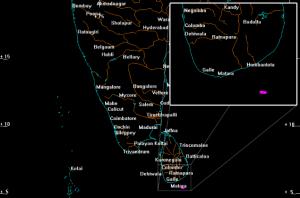 La Zone d'amerrissage de 5 km pour WT1190F, au sud du Sri Lanka, le 13 novembre 2015 à 06:20 UTC