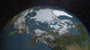La banquise arctique a atteint son quatrième point le plus bas en 2015, la ligne jaune représentant la moyenne de son étendue sur les années 1981-2010... Plus elle fond, plus le niveau des mers monte.