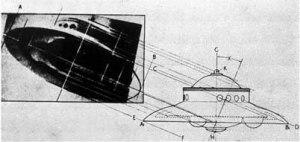 Comparaison entre l'ovni photographié par Adamsky et  un dessin des archives du Troisième Reich.