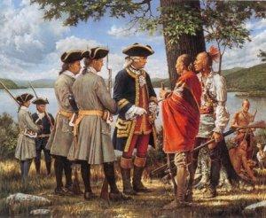 Le général Montcalm discutant avec ses alliés des Premières Nations.