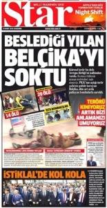 Une journée plus tard,le même journal turc continue ses attaques contre la Belgique.