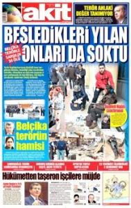 Dans le second titre du journal turc Akita,on peut lire:« La Belgique supporte les terroristes ».