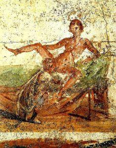 Peinture murale de Pompéi représentant une femme recevant un cunilingus. Cette pratique remonte à la plus haute antiquité.