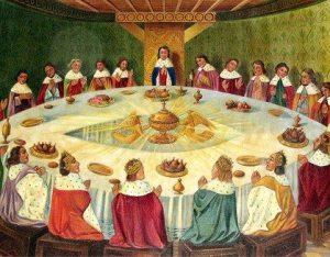 Le Saint-Graal ,d'après une ancienne gravure féodale:la Table Ronde entourée des Chevaliers.