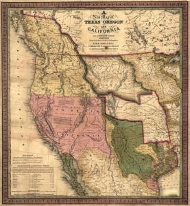 Ancienne carte des territoires du Texas et de la Californie.