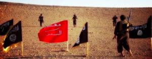 Le drapeau noir de la mort islamique côtoie souvent celui rouge de sang .