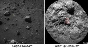 Curiosity : tir de laser sur une roche et observation du résultat grâce à la ChemCam