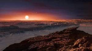 "A hand out image made available by the European Southern Observatory on August 24 2016, shows an artist's impression of a view of the surface of the planet Proxima b orbiting the red dwarf star Proxima Centauri, the closest star to the Solar System. The double star Alpha Centauri AB also appears in the image to the upper-right of Proxima itself. Proxima b is a little more massive than the Earth and orbits in the habitable zone around Proxima Centauri, where the temperature is suitable for liquid water to exist on its surface.  Scientists on August 24, 2016 announced the discovery of an Earth-sized planet orbiting the star nearest our Sun, opening up the glittering prospect of a habitable world that may one day be explored by robots. Named Proxima b, the planet is in a ""temperate"" zone compatible with the presence of liquid water -- a key ingredient for life.   / AFP PHOTO / EUROPEAN SOUTHERN OBSERVATORY / M. Kornmesser"