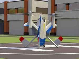 L'illustration de l'artiste de la voiture volante Puffin, un véhicule concept développé par l'ingénieur de l'aérospatiale de la NASA Mark Moore. Uber a embauché Moore pour travailler sur l'initiative volante de voiture de la compagnie, connue sous le nom Uber Elevate. Crédit: NASA